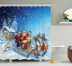 Noel Baba ve Geyik Desenli Duş Perdesi Kış Temalı