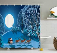 Ay Noel Baba ve Geyik Desenli Duş Perdesi Lacivert