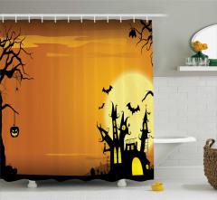 Cadılar Bayramı Temalı Duş Perdesi Kahverengi Sarı