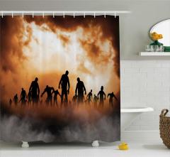 Zombi Temalı Duş Perdesi Cadılar Bayramı Kahverengi