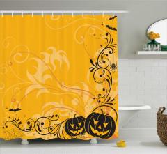 Cadılar Bayramı Temalı Duş Perdesi Sarı Bal Kabağı