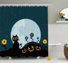 Kedi ve Ay Desenli Duş Perdesi Cadılar Bayramı Siyah