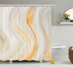 Dalga Desenli Duş Perdesi Sarı Krem Boya Etkili