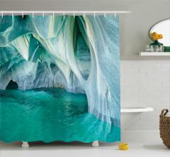 Mağara Manzaralı Duş Perdesi Turkuaz Beyaz Deniz