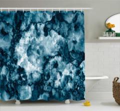 Mavi Mermer Desenli Duş Perdesi Ebruli Şık Tasarım