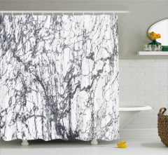 Mermer Desenli Duş Perdesi Gri Beyaz Doğal Taş Şık