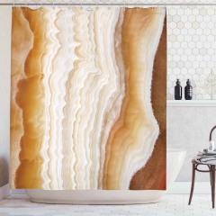 Mermer Dokulu Duş Perdesi Sarı Krem Şık Tasarım