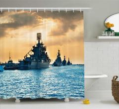 Donanma Gemisi Desenli Duş Perdesi Savaş Asker Mavi