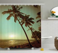 Tropikal Ada Temalı Duş Perdesi Gün Batımı Yeşil