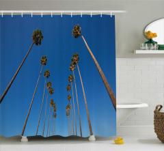 Tropikal Ağaç Desenli Duş Perdesi Mavi Gökyüzü