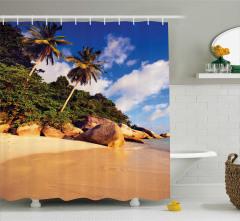 Tropikal Ada Desenli Duş Perdesi Kumsal Sahil