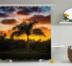 Romantik Gün Batımı Desenli Duş Perdesi Tropikal Ada