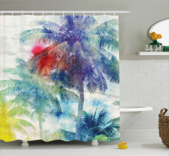 Sulu Boya Resmi Etkili Duş Perdesi Rengarenk Palmiye