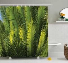 Egzotik Palmiye Yaprakları Desenli Duş Perdesi Yeşil