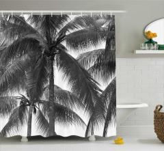 Siyah Beyaz Duş Perdesi Palmiye Ağaç Desenli