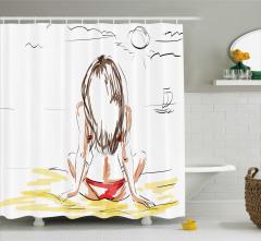 Yaz Tatili Temalı Duş Perdesi Deniz Kumsal Güneş