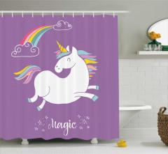 Unicorn Desenli Duş Perdesi Gökkuşağı Temalı Mor
