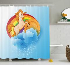 Çocuk İçin Duş Perdesi Unicorn Temalı Gökkuşağı Mavi