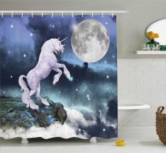 Masal Temalı Duş Perdesi Unicorn Mavi Yıldız Şık
