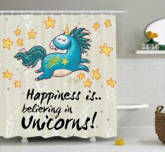 Unicorn Desenli Duş Perdesi Mavi Bej Sarı Trend