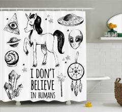 Mistik Temalı Duş Perdesi Unicorn Gezegen Siyah