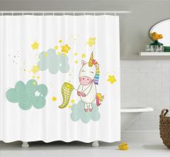 Baby Shower Temalı Duş Perdesi Minik Unicorn Beyaz