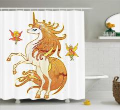 Unicorn ve Peri Temalı Duş Perdesi Çocuklar İçin