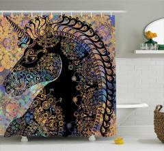 Tek Boynuzlu At Temalı Duş Perdesi Siyah Şık Tasarım