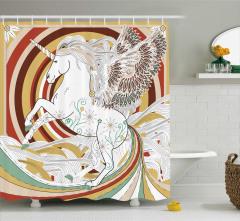 Çiçekli Unicorn Desenli Duş Perdesi Fantastik Şık