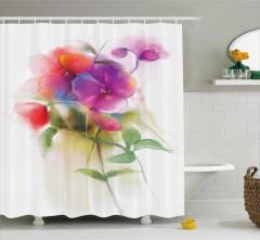 Rengarenk Çiçekler Desenli Duş Perdesi Romantik Mor