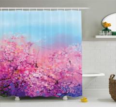 Suluboya Resmi Etkili Duş Perdesi Kiraz Çiçeği Pembe