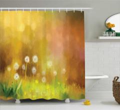 Bahar Temalı Duş Perdesi Karahindiba Desenli Sarı