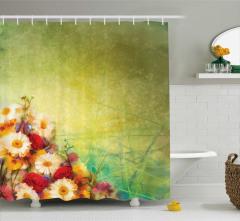 Romantik Çiçek Buketi Temalı Duş Perdesi Papatya Gül