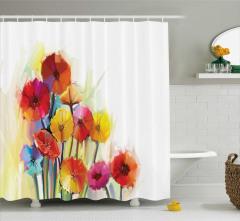 Renkli Çiçekler Desenli Duş Perdesi Turuncu Sarı Mor
