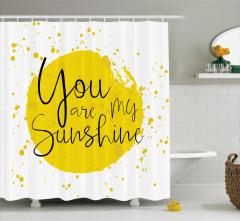 Aşk Temalı Duş Perdesi Romantik Sarı Sulu Boya Şık