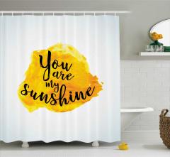 Aşk Temalı Duş Perdesi Romantik Sarı Şık Tasarım
