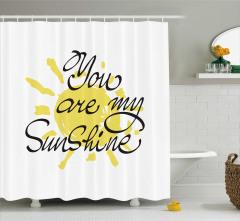 Sevgililer Günü İçin Duş Perdesi Sarı Romantik Şık