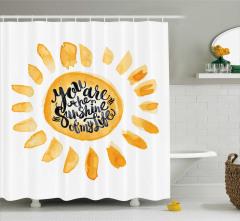Aşk Temalı Duş Perdesi Romantik Beyaz Sarı Güneş