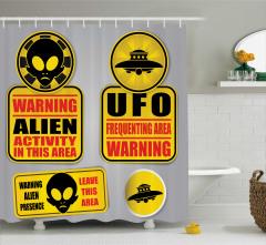 Uzaylı Temalı Duş Perdesi UFO Sarı Gri Uzay Gemisi