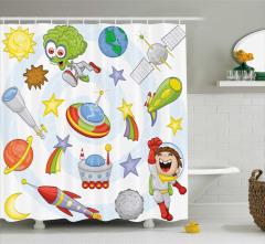 Çocuklar İçin Duş Perdesi Uzay Temalı Şık Tasarım