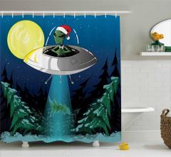 Uzayda Noel Temalı Duş Perdesi Uzaylı Uzay Gemisi