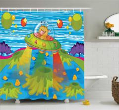 Canavar Desenli Duş Perdesi Çocuklar İçin Mavi Trend