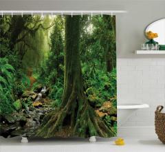 Doğada Huzur Temalı Duş Perdesi Yeşil Ağaçlar Orman