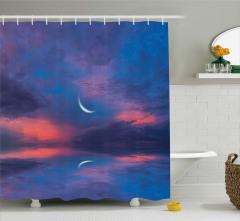 Gizemli Gökyüzü Temalı Duş Perdesi Pembe Mor Bulut