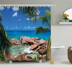 Tropikal Ada Temalı Duş Perdesi Mavi Okyanus Kayalık
