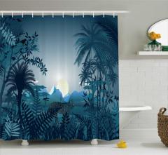 Yağmur Ormanı Manzaralı Duş Perdesi Palmiye Kaplan
