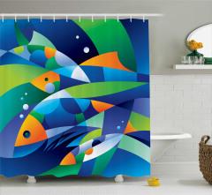 Rengarenk Balık Desenli Duş Perdesi Modern Sanat