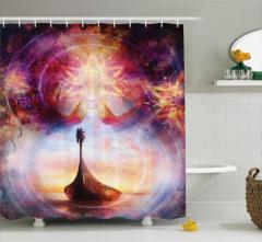 Duş Perdesi Mistik Çiçekler ve Viking Gemisi