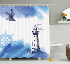 Deniz Feneri Desenli Duş Perdesi Martı Mavi Beyaz