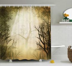 Gizemli Orman Temalı Duş Perdesi Turuncu Siyah